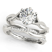 Round Diamond Twist Cathedral Engagement Ring | 0.17 Carat Total Weight