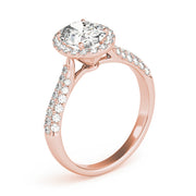 Oval Diamond Halo Pavé Engagement Ring| 0.38 Carat Total Weight