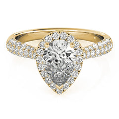 Pear Diamond Halo Pavé Engagement Ring | 0.38 Carat Total Weight