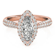 Marquise Diamond Halo Pavé Engagement Ring | 0.38 Carat Total Weight