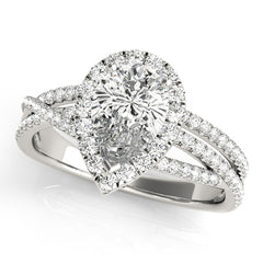 Pear Diamond Halo Twist Engagement Ring | 0.38 Carat Total Weight