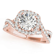 Round Diamond Halo Pavé Twist Engagement Ring | 0.83 Carat Total Weight