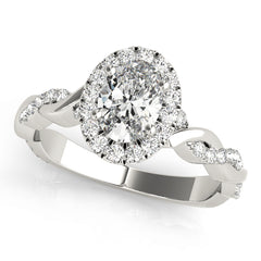 Oval Diamond Halo Pavé Twist Engagement Ring | 0.33 Carat Total Weight