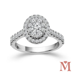 White Gold Oval Frame Diamond Unity Ring | 1.00 Carat Total Weight