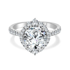 Round Halo Diamond Crown Petite Halo Engagement Ring | 0.50 Carat Total Weight