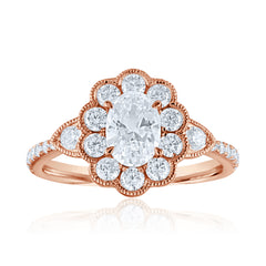 Rose Gold Oval Halo Diamond Art Deco Engagement Ring | 0.62 Carat Total Weight