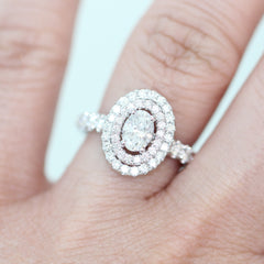White Gold Oval Double Halo Diamond Ring | 1.50 Carat Total Weight