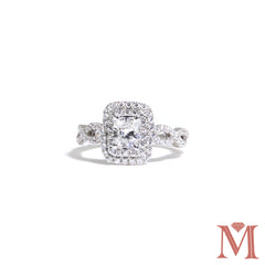 White Gold Radiant Double Halo Diamond Ring | 1.25 Carat Total Weight