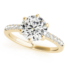 Round Diamond Hidden Halo Prong Set Engagement Ring | 0.42 Carat Total Weight