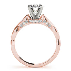 Round Diamond Twist Cathedral Engagement Ring | 0.10 Carat Total Weight