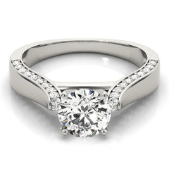 Round Diamond Channel Set Cathedral Engagement Ring | 0.25 Carat Total Weight