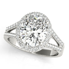 Oval Diamond Split-Shank Halo Engagement Ring | 0.38 Carat Total Weight