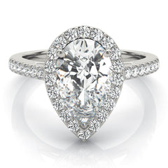 Pear Diamond Halo Engagement Ring | 0.33 Carat Total Weight