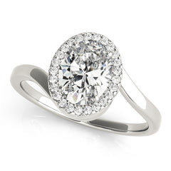 Oval Diamond Freeform Halo Engagement Ring | 0.13 Carat Total Weight