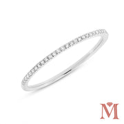 White Gold Prong Set Diamond Band|0.10 Carat Total Weight
