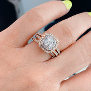 Rose Gold Princess Cut Double Halo Diamond Engagement Ring | 1.50 Carat Total Weight
