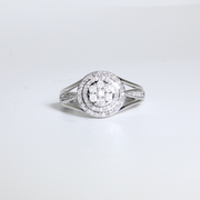 White Gold Round Frame Diamond Ring | 0.50 Carat Total Weight -  MarquiseJewelers