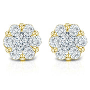 Yellow Gold Fancy Diamond Stud Earrings| 0.75Carat Total Weight