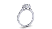 Pear Diamond Crown Halo Engagement Ring | 0.75 Carat Total Weight