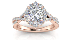Round Halo Diamond Crown Halo Engagement Ring | 1.00 Carat Total Weight