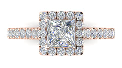 Princess Cut Diamond Halo Engagement Ring | 0.50 Carat Total Weight
