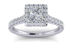 White Gold Princess Cut Halo Diamond Engagement Ring | 0.50 Carat Total Weight