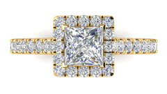 Yellow Gold Princess Cut Halo Diamond Engagement Ring | 0.50 Carat Total Weight