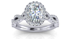Oval Halo Twisted Diamond Halo Engagement Ring | 1.00 Carat Total Weight