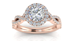 Round Diamond Twisted Halo Engagement Ring| 0.75 Carat Total Weight