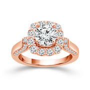 Rose Gold Cushion Halo Round Center Engagement Ring | 1.50 Carat Total Weight