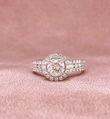 White Gold Round Halo Diamond Ring | 1.75 Carat Total Weight