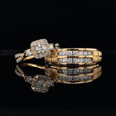 Yellow Gold Round Cut Cushion Halo Twisted Engagement Ring | 1.00 Carat Total Weight
