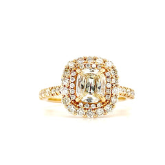 Yellow Gold Cushion Double Halo Diamond Ring| 1.39 Carat Total Weight