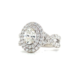 White & Rose Gold Oval Double Halo Diamond Engagement Ring | 1.79 Carat Total Weight
