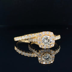 Yellow Gold Round Diamond & Cushion Halo Engagement Ring Set | 1.93 Carat Total Weight