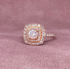 Rose Gold Round Double Halo Diamond Ring | 1.25 Carat Total Weight