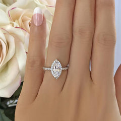 White Gold Marquise Halo Diamond Engagement Ring | 1.00 Carat Total Weight | Opera Collection