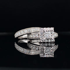 White Gold Princess Cut Halo Diamond Wedding Set | 1.50 Carat Total Weight | Opera Collection