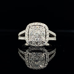 White Gold Cushion Composite Halo Split Shank Diamond Engagement Ring | 1.00 Carat Total Weight