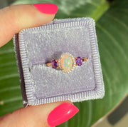Rose Gold Three Stone Amethyst, Opal & Diamond Ring | 0.90 Carat Total Weight