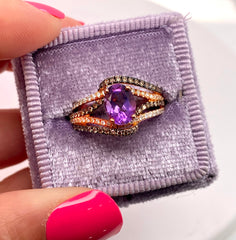 Rose Gold Oval Amethyst & Chocolate Diamonds Fancy Ring | 2.87 Carat Total Weight