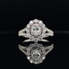 White Gold Oval Double Halo Diamond Engagement Ring | 1.40 Carat Total Weight | Opera Collection