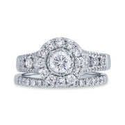 White Gold Round Diamond Halo Engagement Ring & Wedding Band | 1.60 Carat Total Weight