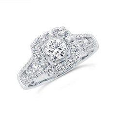 White Gold Cushion Halo Round Diamond Engagement Ring | 1.55 Carat Total Weight