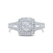 White Gold Cushion Halo Diamond Engagement Ring | 0.80 Carat Total Weight