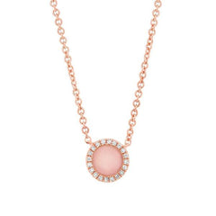 Rose Gold Diamond Pink Opal Petite Drop Necklace | 0.32 Carat Total Weight