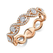 Rose Gold Infinity Twisted Diamond Band | 0.60 Carat Total Weight