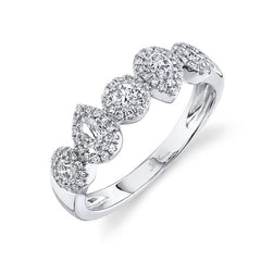White Gold Round & Pear Diamond Halo Fancy Band | 0.70 Carat Total Weight