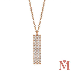 Rose Gold Pave Diamond Bar Necklace| 0.25 Carat Total Weight