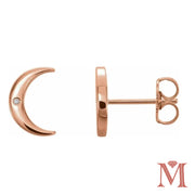 Rose Gold Crescent Moon Diamond Stud Earrings| 0.01 Carat Total Weight